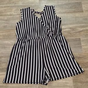 Maurices black and white striped sleeveless romper